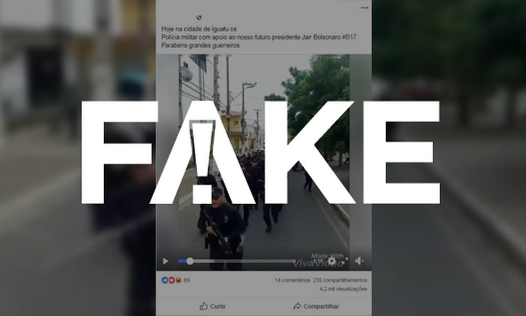 Vídeo circula nas redes sociais com suposto apoio de policiais militares a Jair Bolsonaro Foto: Reprodução