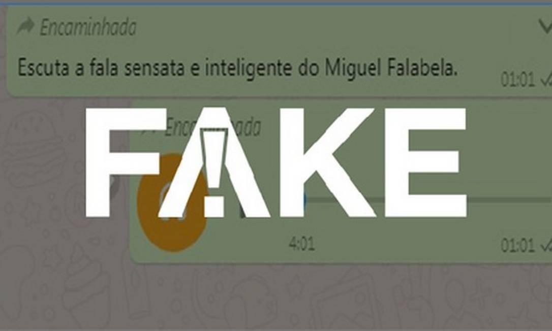 Print de falso áudio atribuído a Falabella que circula no WhatsApp Foto: Reprodução
