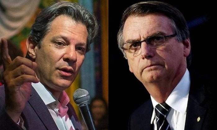 Fernando Haddad e Jair Bolsonaro Foto: Agência O GLOBO