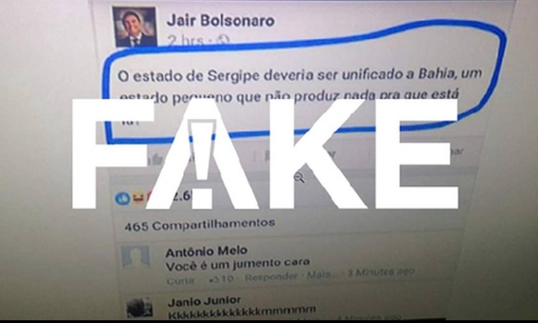 Post falso atribuído a Bolsonaro Foto: G1