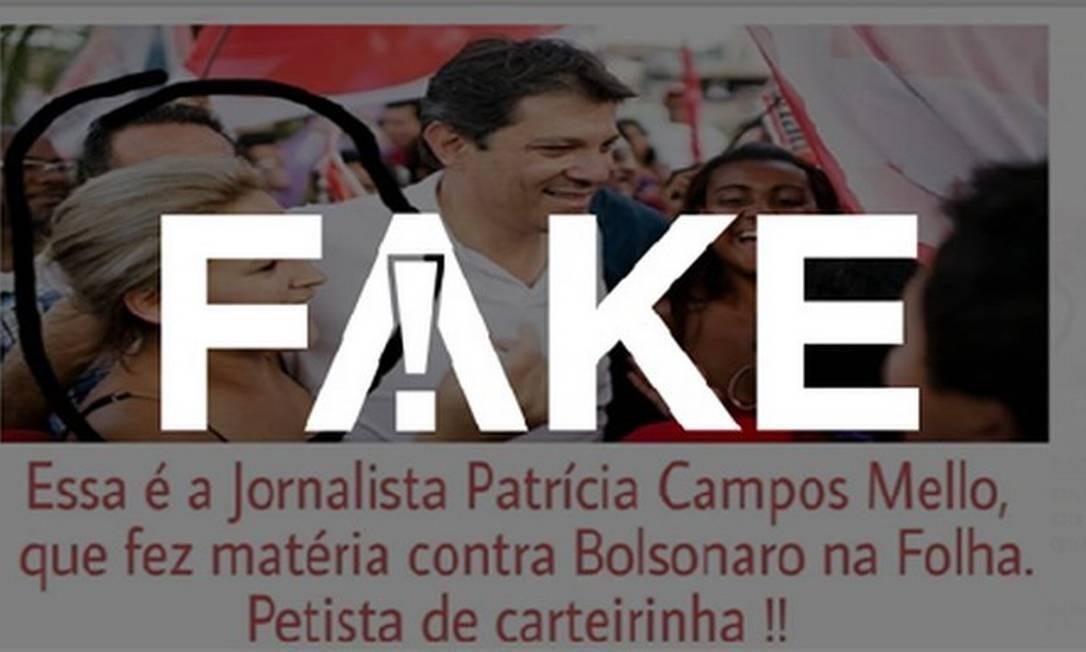 Mulher ao lado de Haddad em foto não é jornalista Patrícia Campos Mello Foto: G1