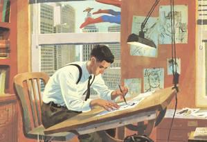 Desenho representando Joe Shuster, por Thomas Campi Foto: Reprodução