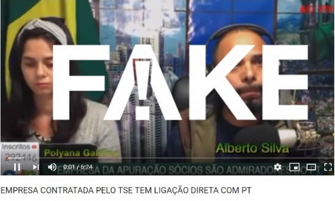 Vídeo publicado nas redes sociais faz falsa acusação sobre sócios de empresa contratada pelo TSE Foto: Reprodução