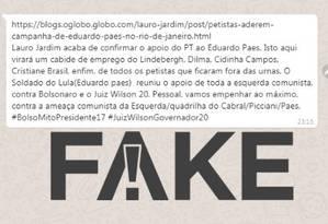 É #FAKE que diz que o PT fechou apoio a Eduardo Paes no segundo turno Foto: Reprodução