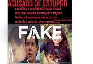 É #FAKE mensagem que a cusa Haddad de ter estuprado uma menina de 11 anos Foto: Reprodução