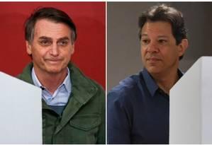 Os candidatos à Presidência Jair Bolsonaro (PSL) e Fernando Haddad (PT) Foto: Agência O GLOBO