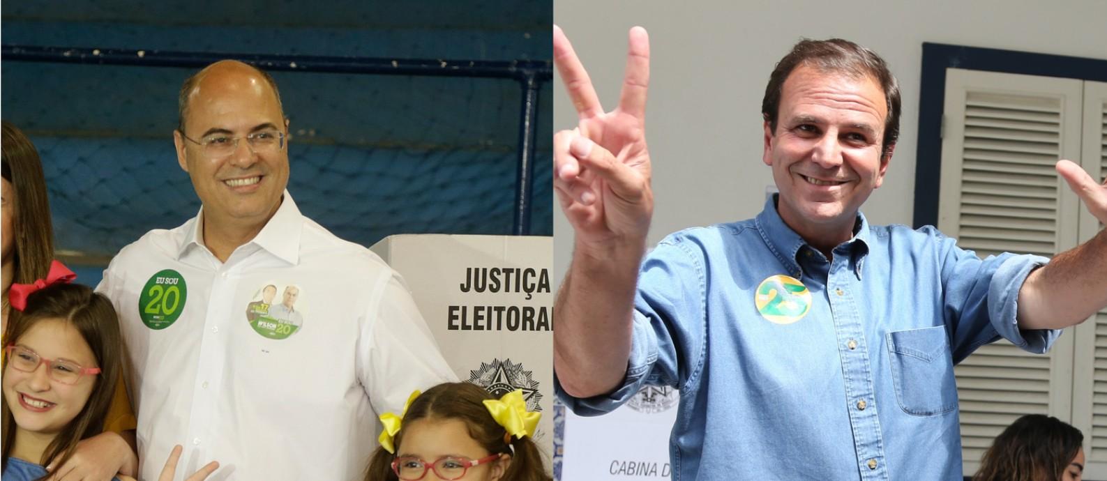 Wilson Witzel e Eduardo Paes votaram na manhã deste domingo, 28 Foto: Antonio Scorza e Marcia Folleto / Agência O Globo