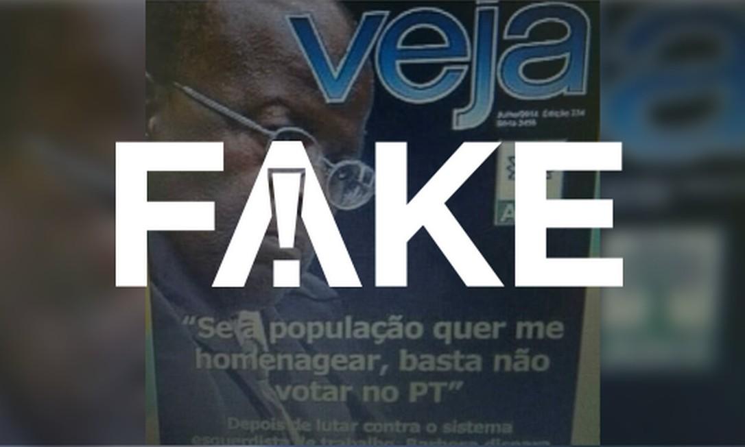 Capa da revista Veja que circula nas redes sociais é falsa Foto: Reprodução