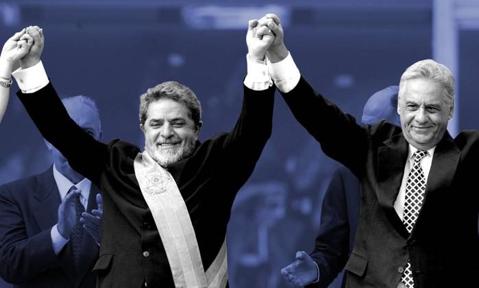 Lula e Fernando Henrique, em 2003, na passagem da presidência Foto: Agência O Glob