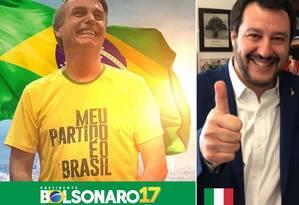 Matteo Salvini publicou uma foto sua com o presidente eleito do Brasil Foto: Reprodução/Twitter