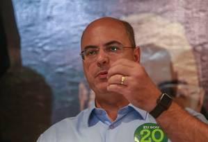 O governador eleito do Rio de Janeiro Wilson Witzel (PSC) falou à imprensa após a divulgação do resultado, no Hotel Ramada Encore Ribalta, Barra da Tijuca Foto: Marcelo Regua/Agência O Globo