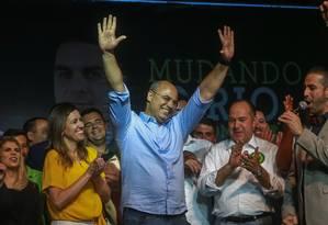 Governador do Rio Wilson Witzel (PSC) comemora na casa de shows Ribalta, na Barra da Tijuca Foto: Marcelo Regua / Agência O Globo