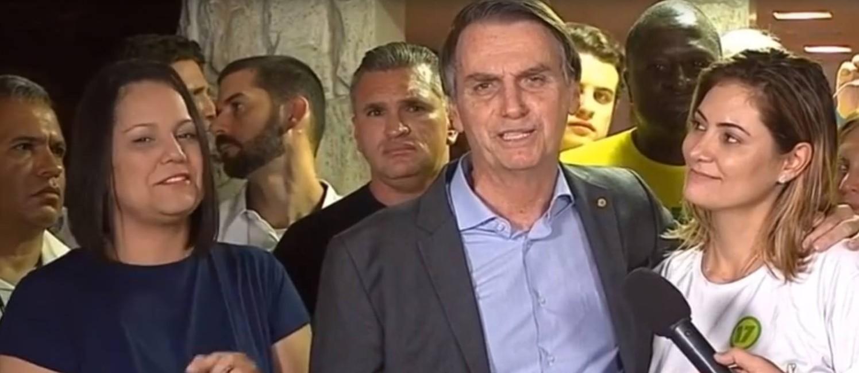 Bolsonaro discursa logo após a vitória no segundo turno Foto: Agência O Globo