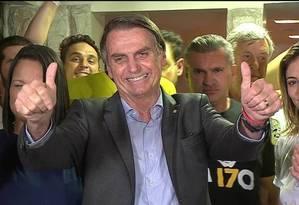 Entrevista coletiva de Jair Bolsonaro após a vitória. Foto: Agência O Globo