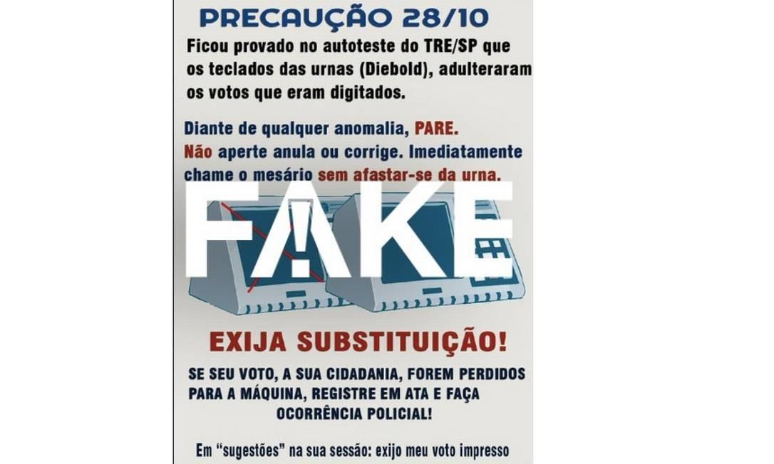 Mensagem que diz que urnas adulteraram votos é #FAKE Foto: Reprodução