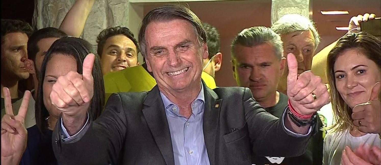 O presidente eleito, Jair Bolsonaro (PSL), durante entrevista após a divulgação do resultado Foto: Reprodução TV Globo