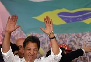 Candidato à Presidência pelo PT, Fernando Haddad reconheceu derrota e desejou sorte a Jair Bolsonaro (PSL) Foto: NELSON ALMEIDA / AFP