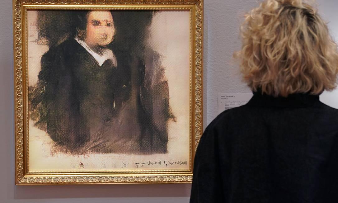 """O quadro """"Portrait d'Édouard Belamy"""" foi leiloado no dia 25, por US$ 432.500 Foto: TIMOTHY A. CLARY / AFP"""