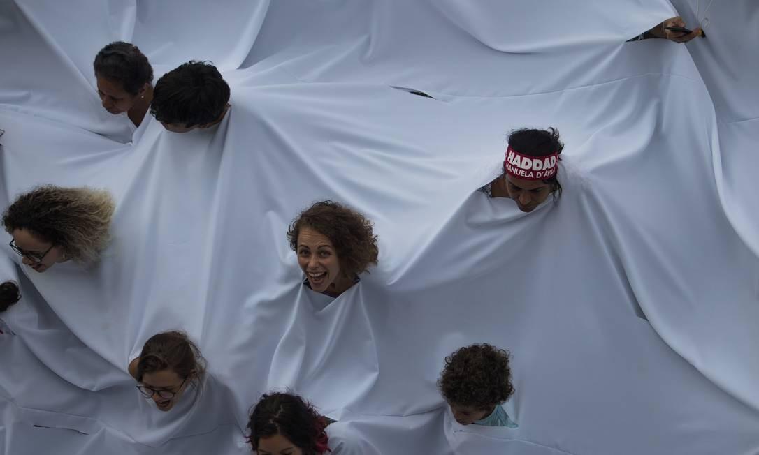 Manifestantes a favor de Fernando Haddad protestam em São Paulo Foto: Victor Moriyama / Getty Images