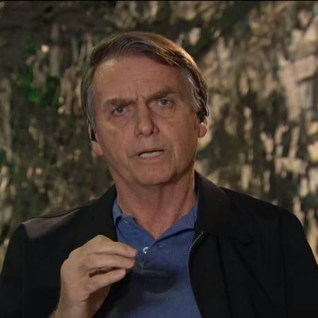 O presidente eleito, Jair Bolsonaro, em entrevista à TV GLOBO Foto: Reprodução