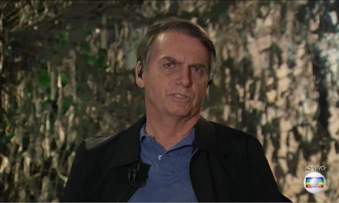Jair Bolsonaro (PSL) durante entrevista ao Jornal Nacional Foto: Reprodução/TV Globo
