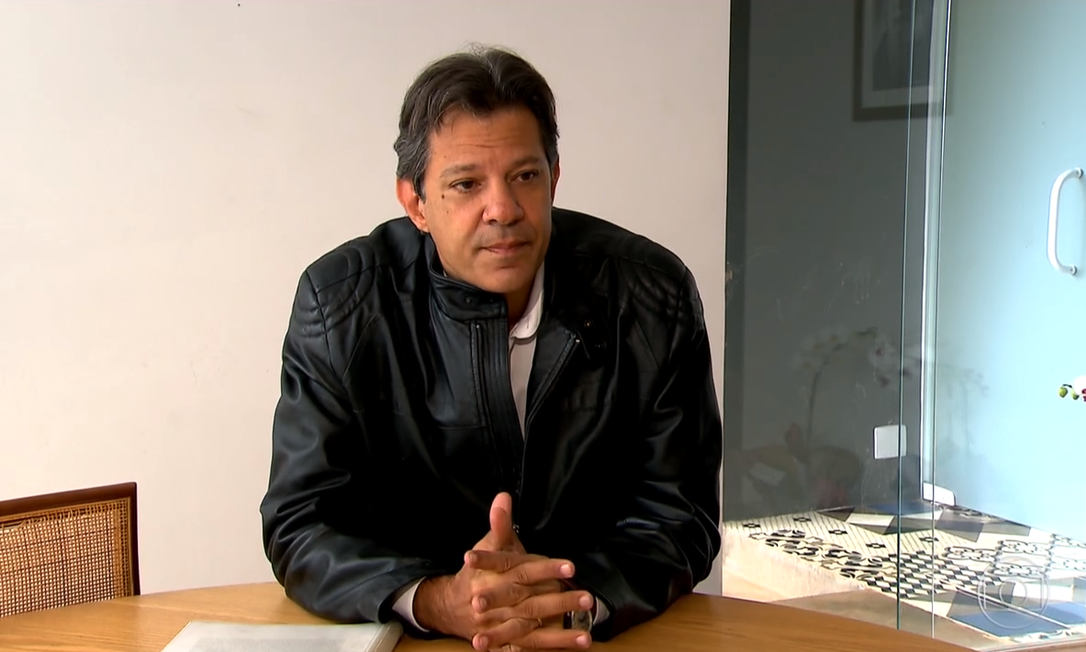 Fernando Haddad (PT) concede entrevista ao Jornal Nacional Foto: Reprodução/TV Globo
