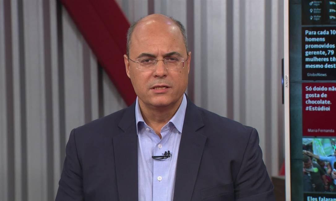 Wilson Witzel em entrevista na Globonews Foto: Reprodução