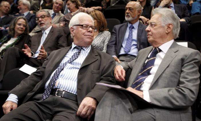 Homenagem aos 80 anos do ex-ministro da cultura Sérgio Paulo Rouanet (na foto ao lado do ex-presidente Fernando Henrique Cardoso) Foto: Gustavo Stephan / Arquivo