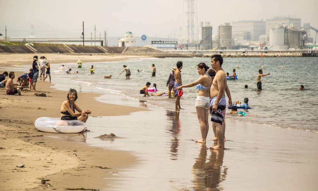 Praia em Fukushima abre pela primeira vez desde março de 2011. A Haragamaobama, praia localizada na cidade de Soma, foi reaberta ao público em julho Foto: Bárbara Lopes / Agência O Globo