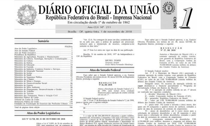 Diário Oficial da União Foto: Reprodução