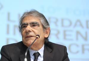 O ex-ministro do STF Carlos Ayres Britto durante palestra Foto: Ailton de Freitas/Agência O Globo/03-05-2018