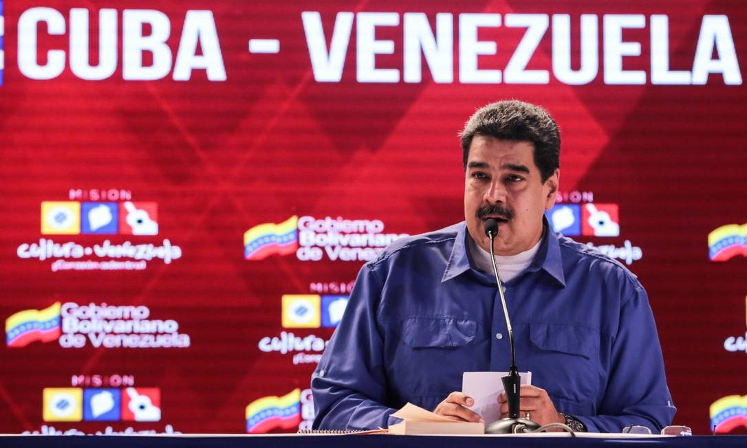 Presidente da Venezuela, Nicolás Maduro, durante reunião sobre laços com Cuba em Caracas Foto: HANDOUT / REUTERS