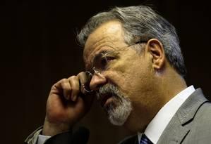 O ministro da Segurança Pública, Raul Jungmann, durante entrevista coletiva Foto: Jorge William / Agência O Globo