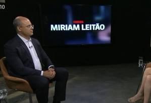 Wilson Witzel em entrevista à jornalista Míriam Leitão Foto: Reprodução