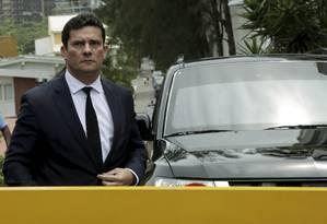 O juiz Sérgio Moro condomínio onde Jair Bolsonaro mora, no Rio de Janeiro Foto: Gabriel de Paiva / Agência O Globo