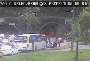 O Túnel Rebouças Foto: Centro de Operações Rio (COR) Foto: Reprodução
