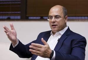 O governador eleito do Rio Wilson Witzel durante entrevista ao GLOBO Foto: Leo Martins / Agência O Globo