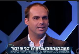 Eduardo Bolsonaro em entrevista ao SBT Foto: Reprodução