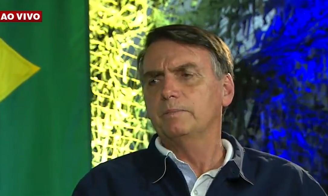 """Bolsonaro em entrevista à """"Band"""" na tarde desta segunda-feira Foto: Reprodução"""