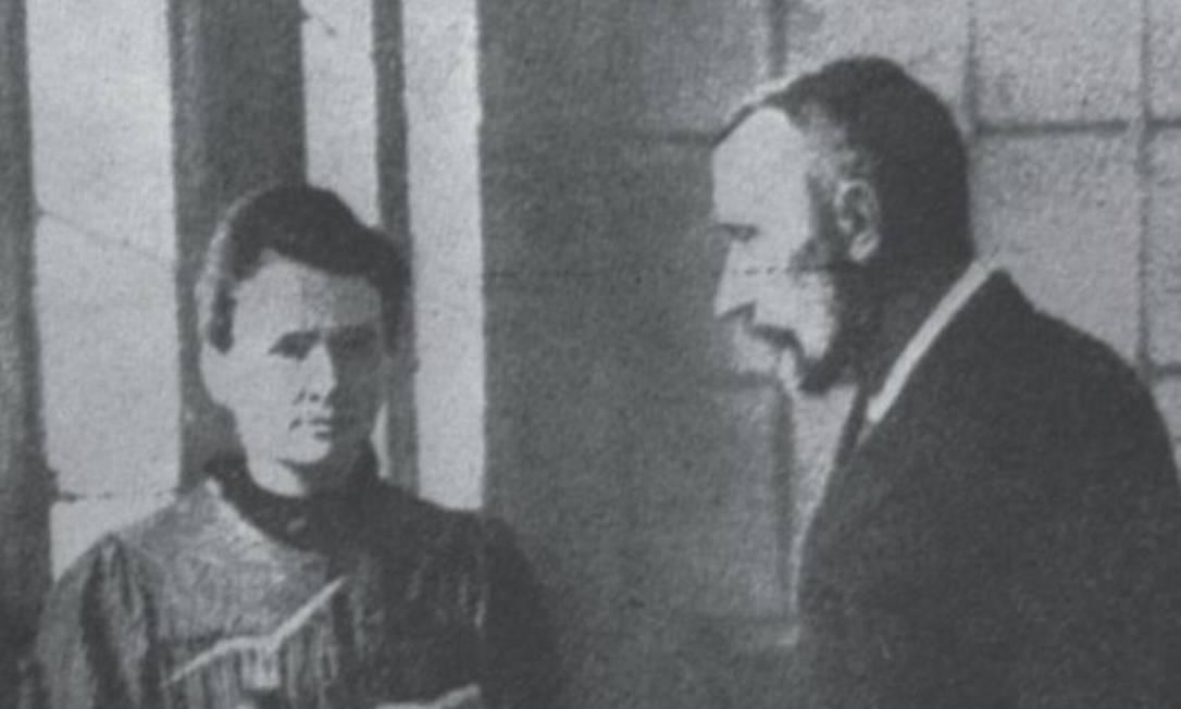 Marie e Pierre Curie: reconhecimento no meio científico por trabalhos sobre magnetismo Foto: Reprodução