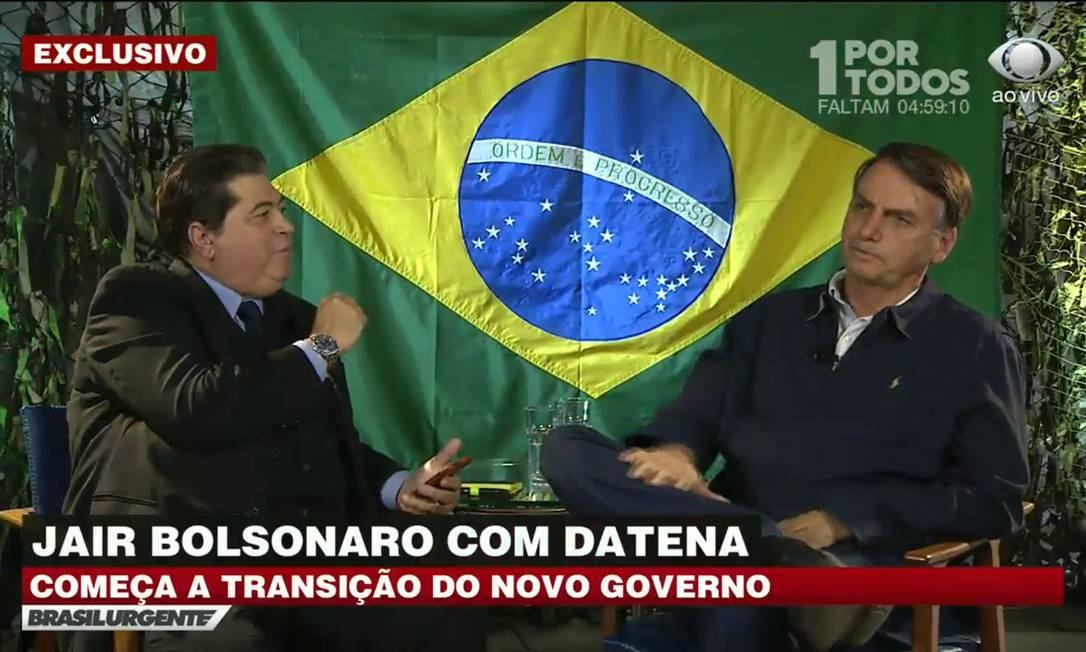 Entrevista de Jair Bolsonaro a Datena na TV Band Foto: Reprodução