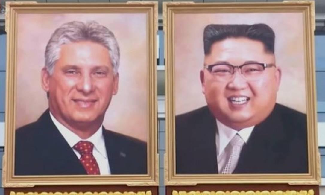 Retratos oficiais de Miguel Díaz-Canel, líder de Cuba, e de Kim Jong-un, da Coreia do Norte Foto: KCTV
