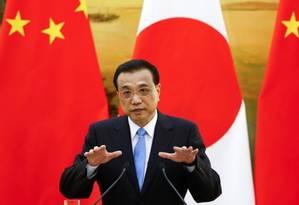 O primeiro-ministro da China, Li Keqiang, durante coletiva de imprensa em Pequim Foto: Reuters