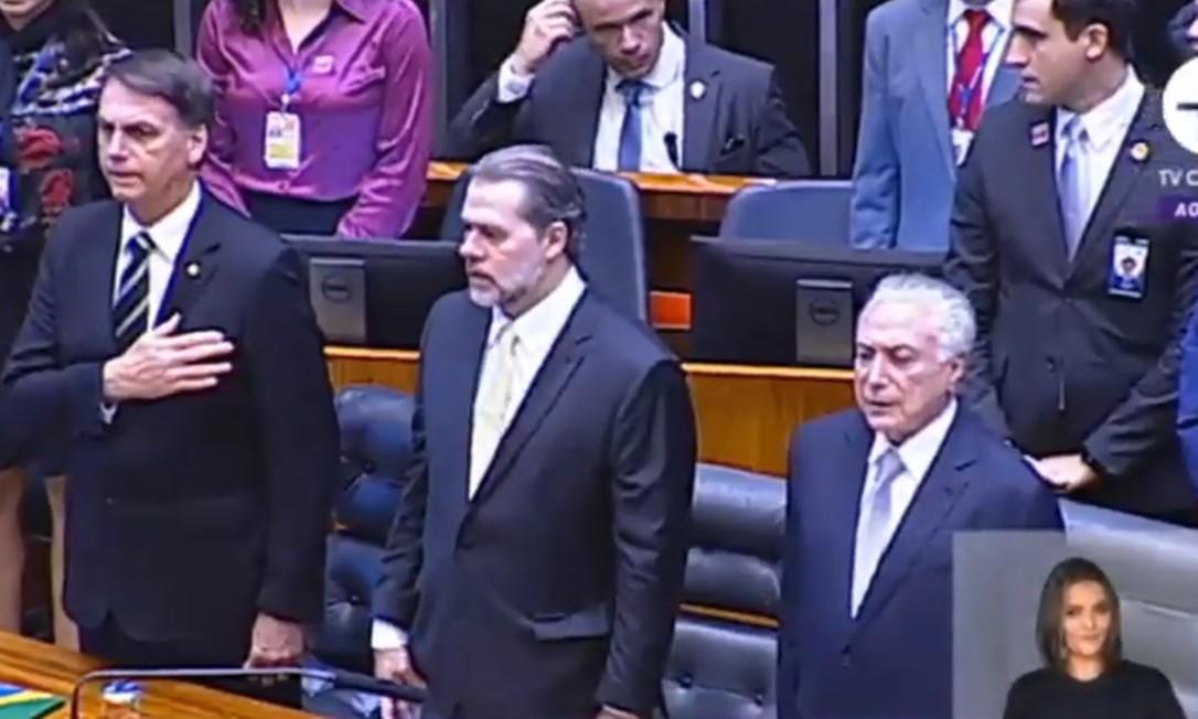Presidente eleito Jair Bolsonaro participa de solenidade na Câmara dos Deputados Foto: Reprodução / TV Câmara
