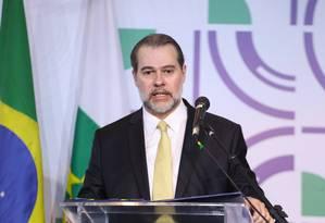 O presidente do STF, ministro Dias Toffoli, durante palestra Foto: Divulgação