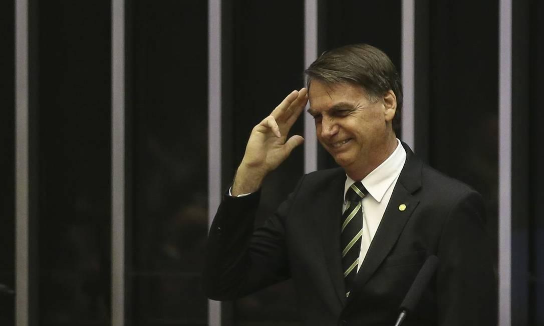 O presidente eleito Jair Bolsonaro participa de sessão solene no Congresso Foto: José Cruz/Agência Brasil