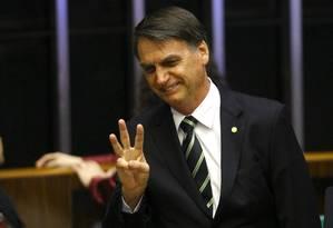 O presidente eleito Jair Bolsonaro participa de sessão solene no Congresso Foto: Jorge William / Agência O Globo