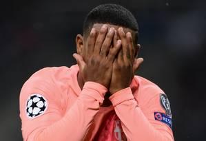 Malcom comemora seu primeiro gol com a camisa do Barcelona Foto: MARCO BERTORELLO / AFP