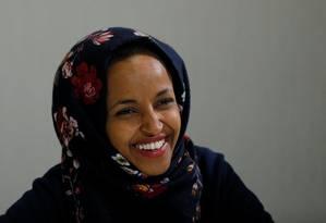 Candidata democrata Ilhan Omar, eleita para o Congresso americano pelo estado de Minnesota Foto: BRIAN SNYDER / REUTERS