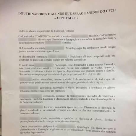 UFPE abriu sindicância após carta com ameaças a professores e estudantes ser colocada na instituição Foto: Facebook/Reprodução